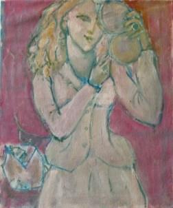 Préparatifs Huile sur toile 55 x 46 cm
