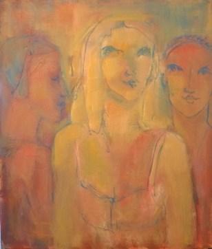 Trois femmes Huile sur toile 60 x 50 cm