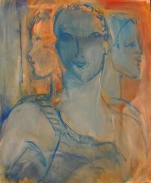 Femme à la bretelle Huile sur toile 46 x 38 cm