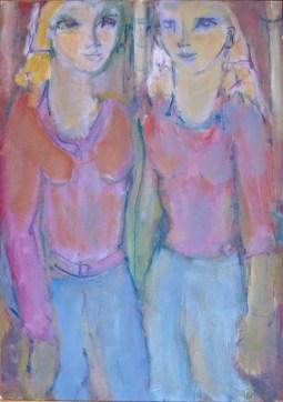 Les jumelles Huile sur toile 67 x 49 cm