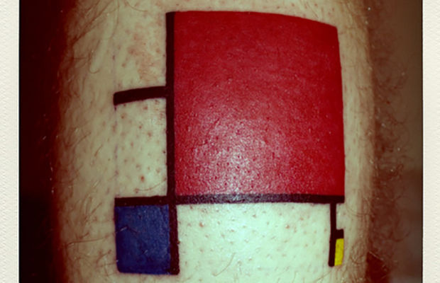 tattoo, Composition in Red, Blue, and Yellow