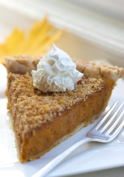 Bourbon Pumpkin Pie makes a great end to your vegan Thanksgiving.