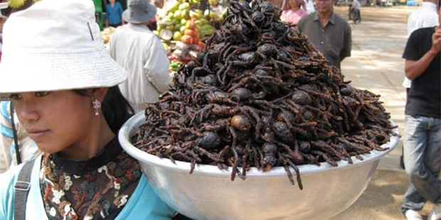 Cambodian delicacy of fried tarantula. (www.gamespot.com)