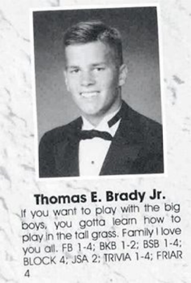 Tom Brady's highschool yearbook photo with inspiring quote, (Pinterest)