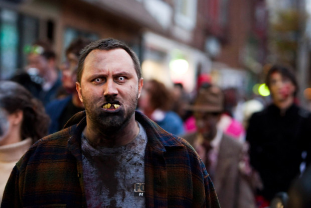 movie drinking games: Man in zombie makeup