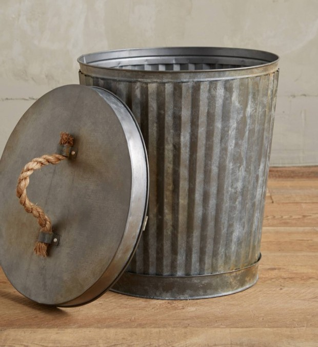trash to treasure: corrugated metal garbage can with rope handled lid