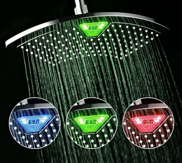 amazing inventions: shower head with temperature display
