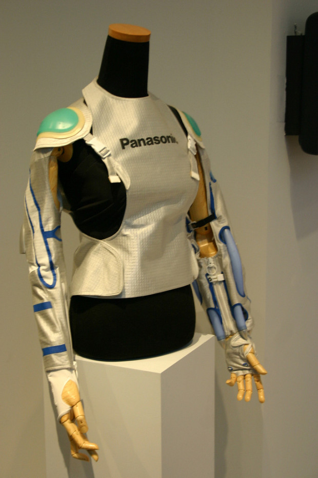 robotic exoskeleton: Model developed by Panasonic displayed on a mannequin.