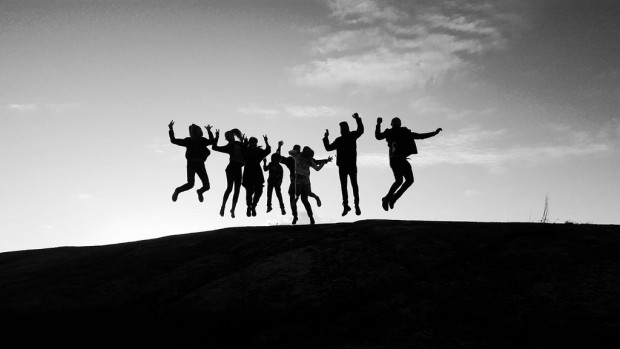 leap year: group of people jumping