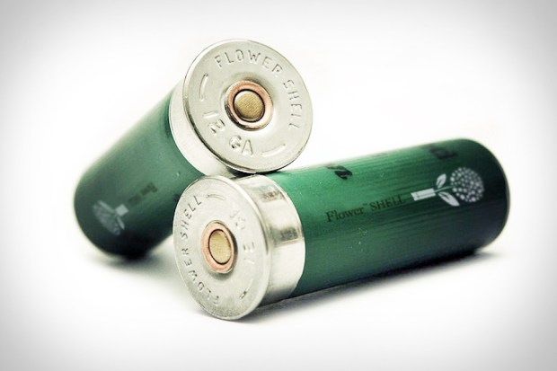 Flower shell: green and steel shotgun shells