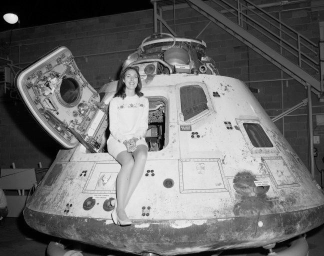 Miss NASA 1971 in the Apollo 8 at the Glen Research Center