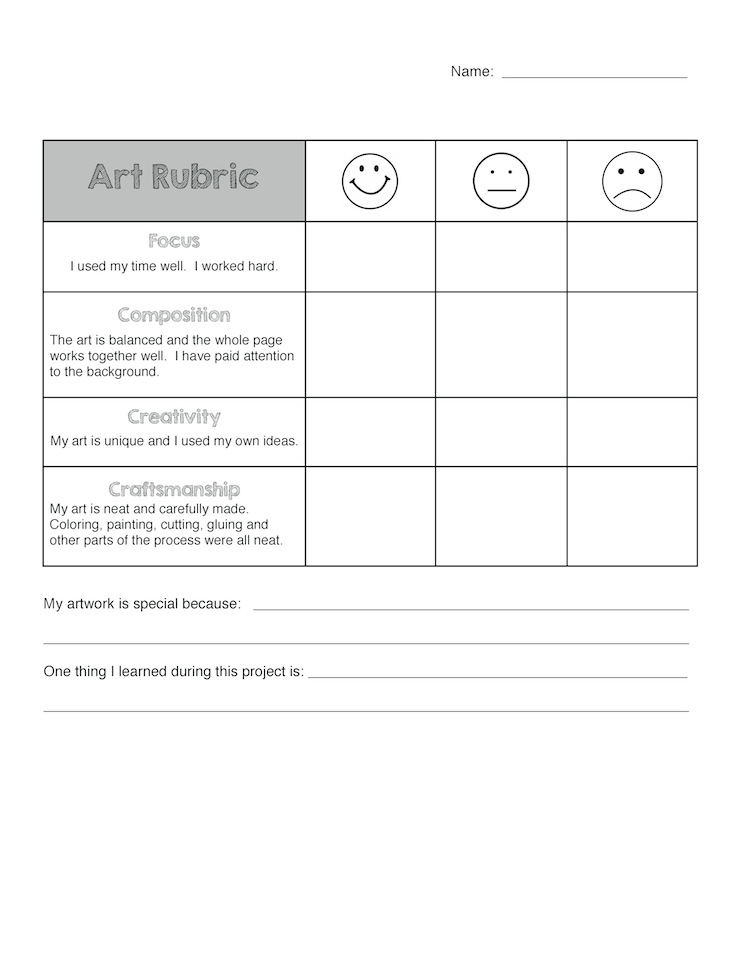 Art Rubric for Elementary