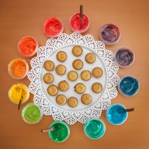 arrange into a color wheel. name and count all the colors!