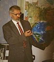 Dr. Anatoly Zaklebny explains  to American & Russian Global Thinking Project students in Moscow that the Earth