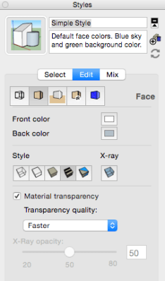 Face Menu - conrols visibility of colors and textures