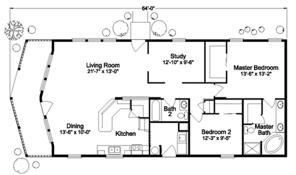 Tiny house floor plan with two bedrooms plete with for Tiny house bathroom floor plans
