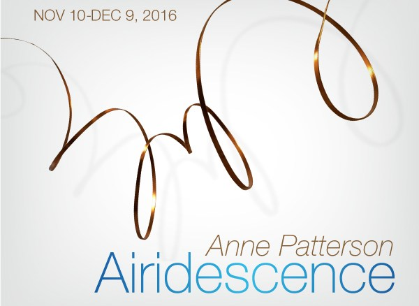 Airidescence by Anne Patterson will be on view November 10-December 9, 2016, at Alfstad& Contemporary in Sarasota, FL.
