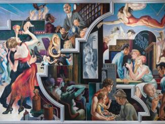 Thomas Hart Benton (1889-1975) City Activities with Dancehall from America Today, 1930–31. Mural cycle consisting of ten panels. Egg tempera with oil glazing over Permalba on a gesso ground on linen mounted to wood panels with a honeycomb interior. The Metropolitan Museum of Art, Gift of AXA Equitable, 2012