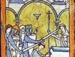 A 13th century miniature painting from an illuminated manuscript.  This is the earliest known depiction of Thomas Becket's assassination.