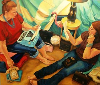 """""""Ring, Ring"""" oil on canvas, 45 x 54 inches, 2014, by Katherine Fries."""
