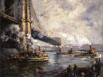 "Jonas Lie (American, b. Norway, 1880–1940), ""Bridge and Tugs,"" 1911–15. Oil on canvas, 34½ x 41½ inches. Georgia Museum of Art, University of Georgia; Museum purchase with funds provided by C. L. Morehead Jr., GMOA 2001.179."