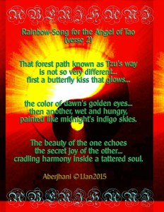 Rainbow Song for the Angel of Tao verse 2 poem and typographic art copyright by Aberjhani 1L