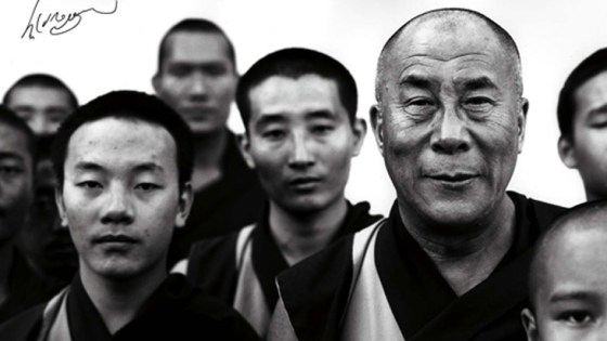 monks with the Dalai Lama