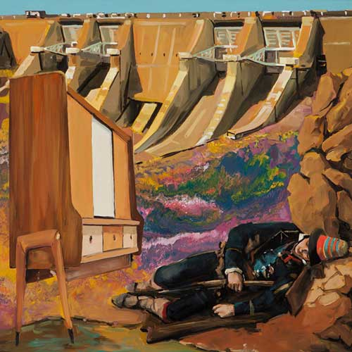 man sleeping near dam