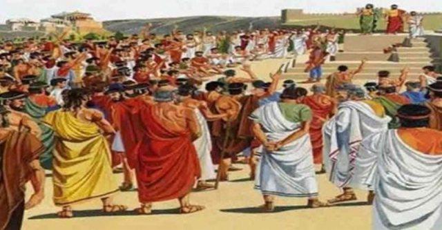 λιθοβολισμός του βουλευτή Λυκίδη επειδή διανοήθηκε να παραδώσει γη και ύδωρ στον Ξέρξη.