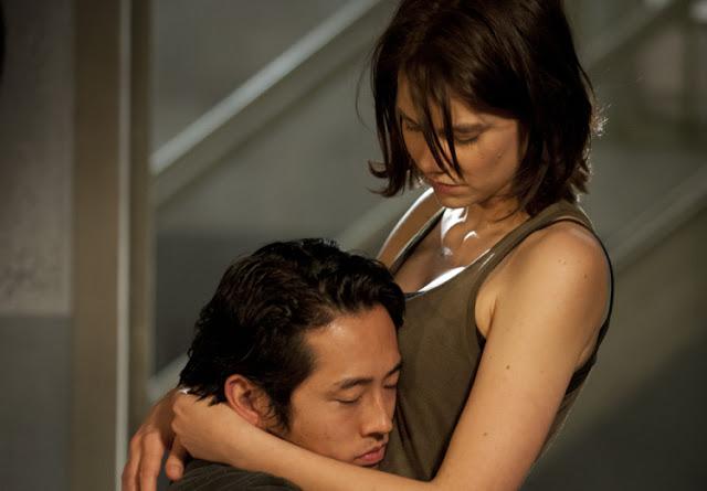 Steve Yeung with Lauren Cohan in Walking Dead