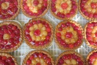 Raspberry and mirabelle tarts