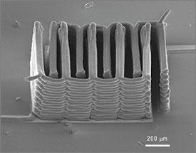 A 3D printer made this battery. It's smaller than a grain of sand. Credit: Ke Sun, Teng-Sing Wei, Jennifer Lewis, Shen J. Dillon