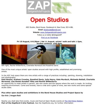 ZAPBond House Open Studios August