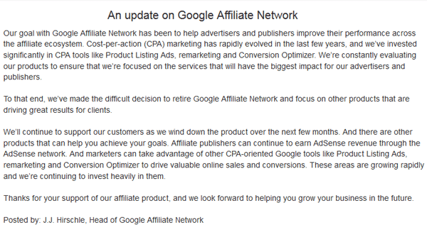 google affiliate network announcement