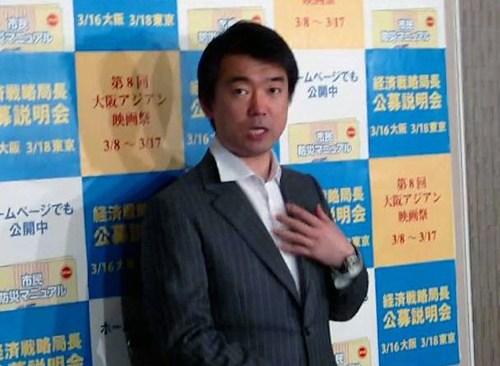 奥下秘書問題に関する質問に 「問題ない」と答える橋下大阪市長 2013年 3月11日撮影リ・シネ