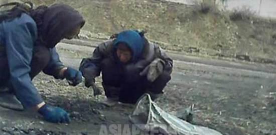 운반차량에서 떨어진 석탄을 주워 모으는 여성들. 2013년 3월 평안남도