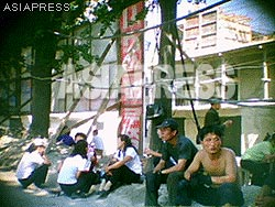 """The women on the left are mobilized female university students. The men on the right seem to be workers from """"a foreign construction company"""".(Aug/2011/Taken by Gu Gwang-ho)"""