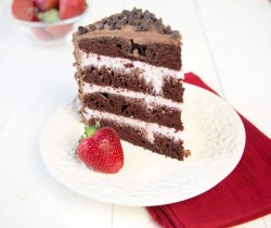 Fashionable Slice Chocolate Cake Strawberry Mousse Between Layerswith Chocolate Frosting Strawberry Mousse Filling Happy Valentines Day Layer Chocolate Cake