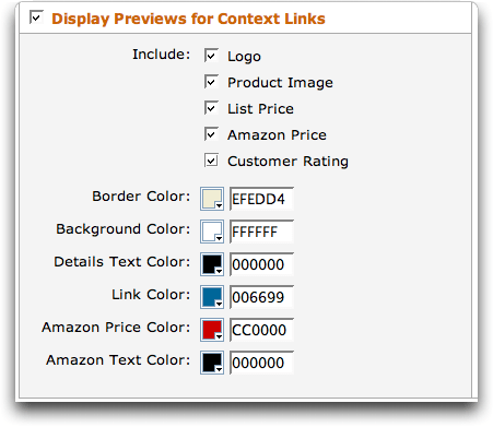 Amazon Context Links (Beta): Configure Display Previews