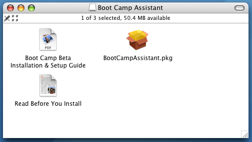 Apple Boot Camp Windows XP Dual Boot Installer: Finder Folder View