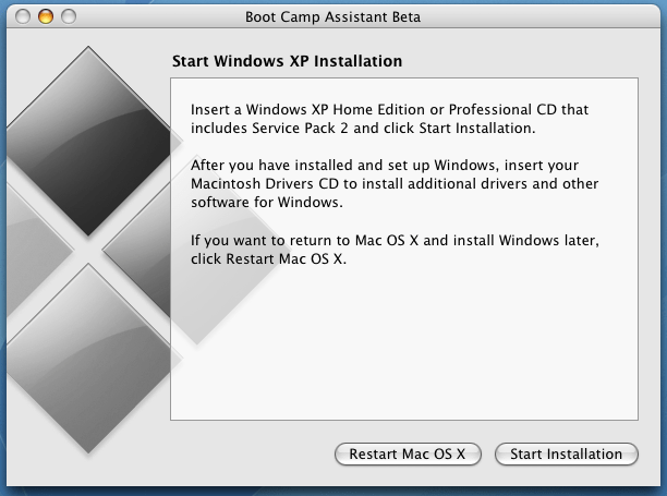 Apple Boot Camp Windows XP Dual Boot Installer: Ready to Start WinXP Install