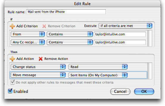 Microsoft Entourage on Mac OS X: How to Set Up A Rule to Capture Mail Sent from an Apple iPhone