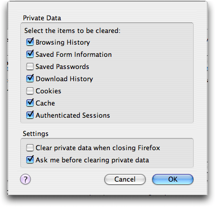 Firefox Preferences; Clear Private Data Tool
