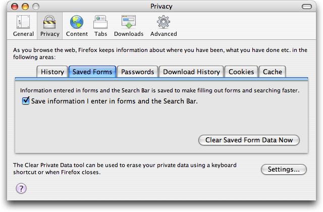 Firefox Preferences; Privacy: Saved Forms