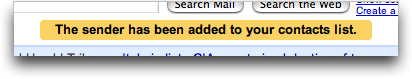 Gmail: Added Sender to Contacts List