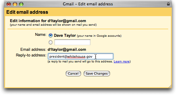 Google Gmail: Edit Email Address: Reply-To Address