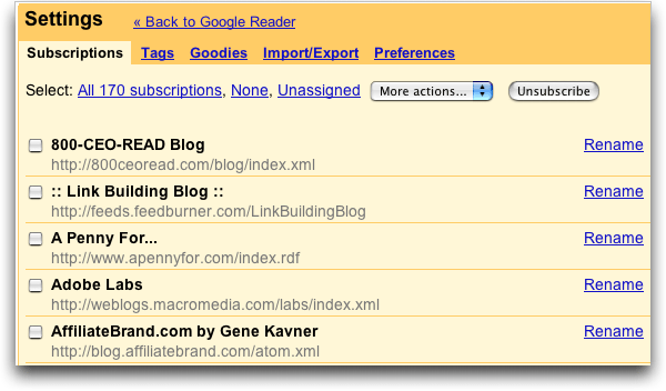 Google Reader: Subscriptions