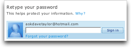 Microsoft MSN Windows Live Hotmail: Retype Your Password