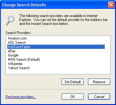Microsoft Internet Explorer 7: Search Defaults