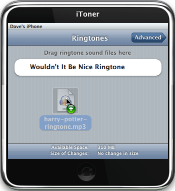 iToner iPhone Ringtone Manager: Dragging Ringtone